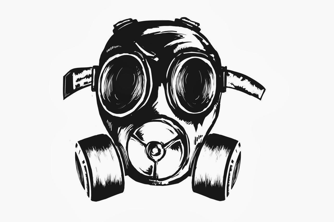 Graffiti characters gas mask