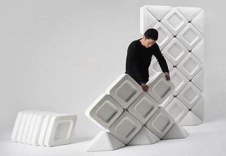 Paneles Modulares con Botellas de Plastico Recicladas
