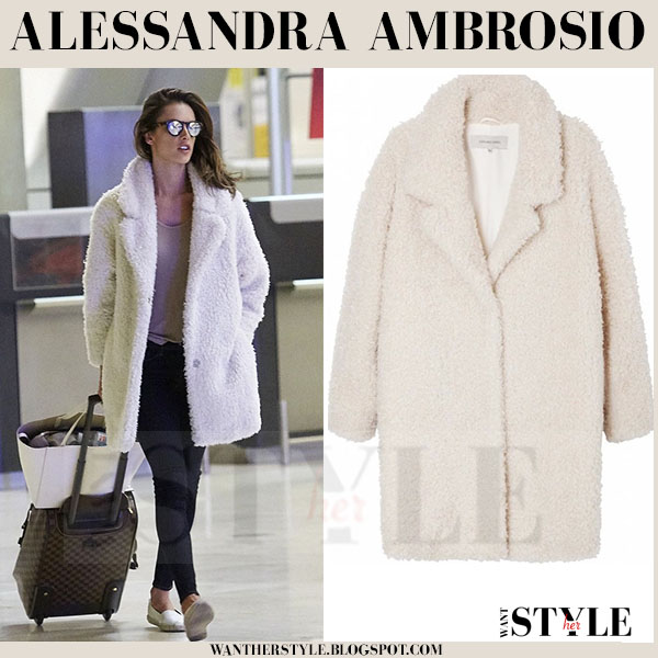 Alessandra Ambrosio in cream gerard darel wool coat and mirrored illesteva sunglasses what she wore