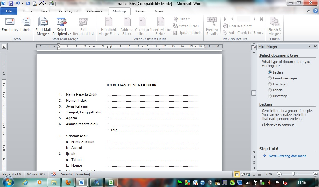 Create Mail Merge Document Using Office 2010
