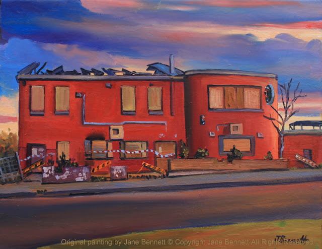 plein air oil painting of the abandoned & derelict heritage hotel, the 'Jolly Frog', Windsor, painted by artist Jane Bennett