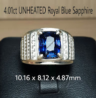 4,01ct UNHEATED Royal BSFR