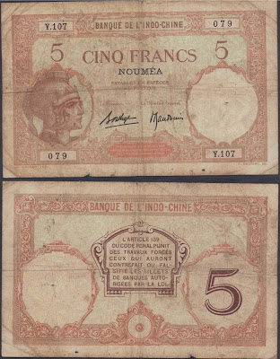 Nuova Caledonia 5 francs 1926 P# 36b