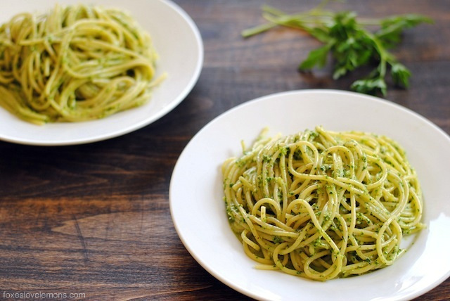 Pasta with Herb-Almond Pesto