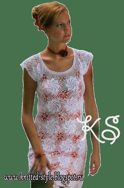 Ажурное белое платье из мотивов