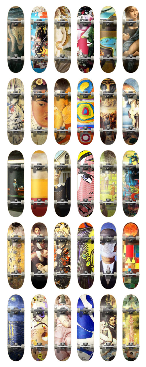 30 classic modern art skateboards decks