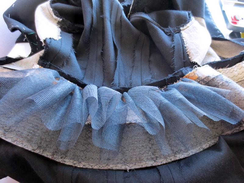 50-tal Dior kavaj peplum hårkanvas vattulin tagelfläta tyll padded peplum