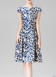 Blue Abstract Print Pure Silk A-line Dress
