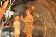 Playing in the Cool Mist Tent