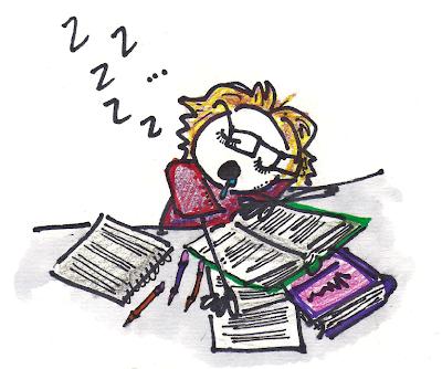 me cramming sleeping exam