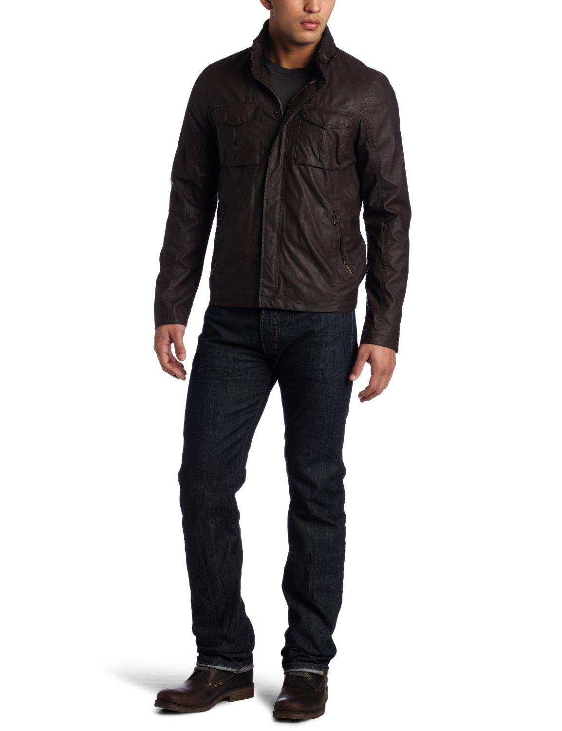 AsEstilo Store: FAUX LEATHER MILITARY JACKET FOR MEN