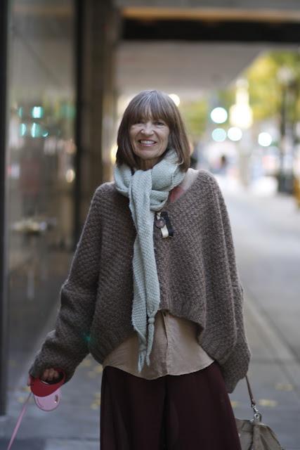 Marsha Burns downtown Seattle street style fashion sweater scarf