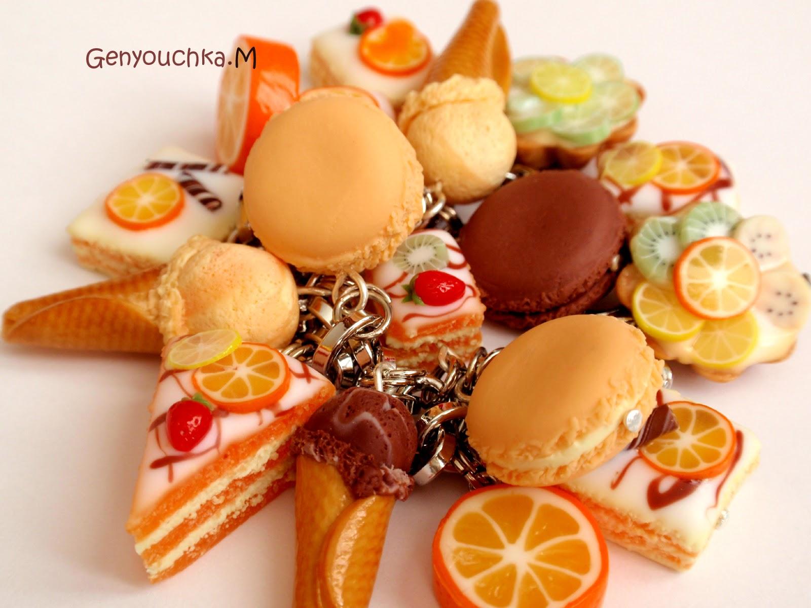 Pâtisserie miniature. On sert les desserts... en fimo: Bracelet et ...