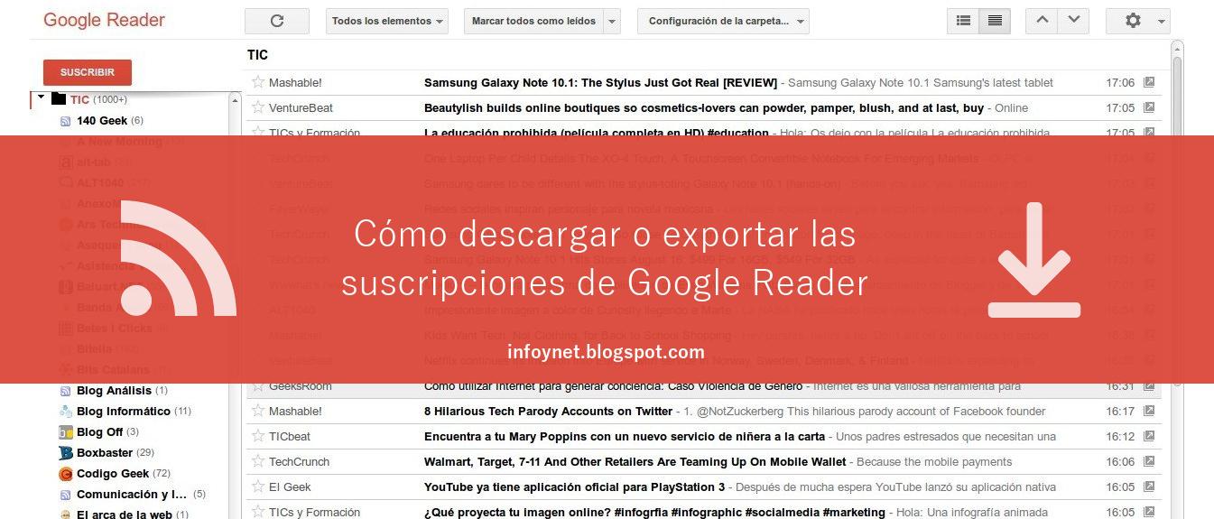 Cómo descargar o exportar las suscripciones de Google Reader