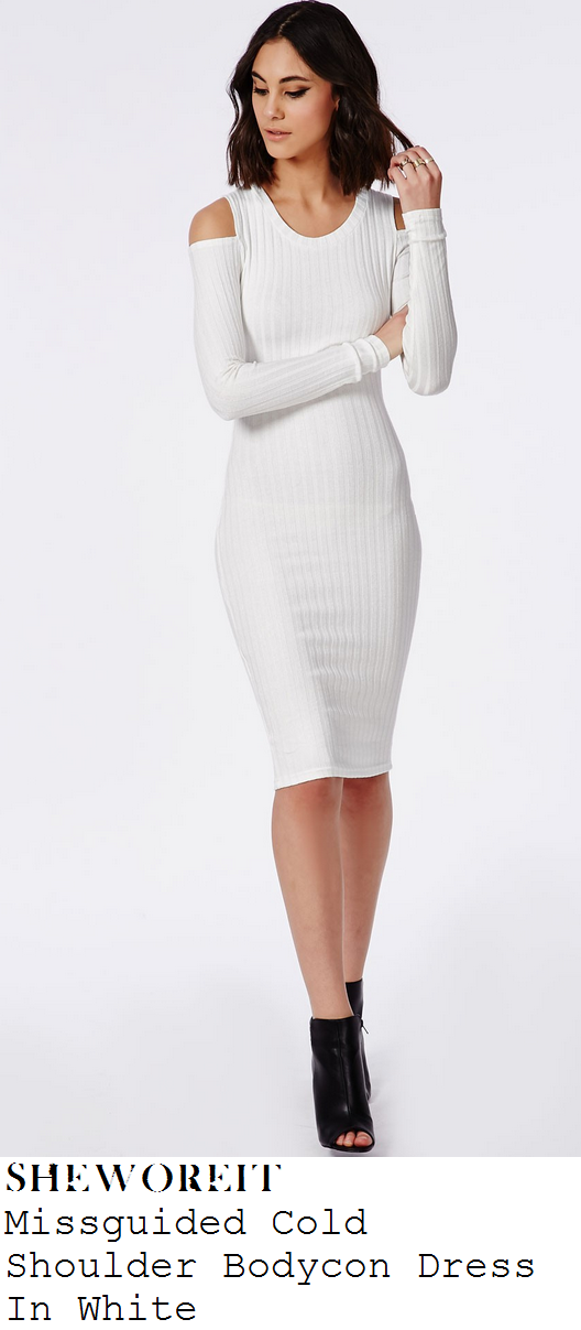 jasmin-walia-white-ribbed-long-sleeve-cut-out-shoulder-bodycon-dress