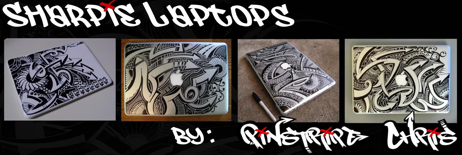 Pinstripe Chris Custom Sharpie Mac  Laptop Decals NOW AVAILABLE - Custom vinyl decals for laptop