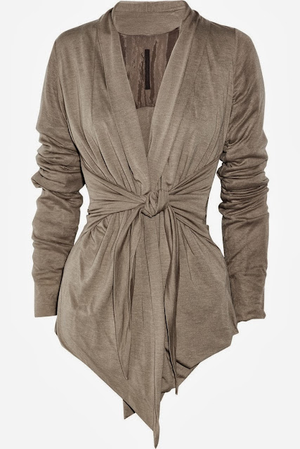 Tie-front brown jersey cardigan fashion style