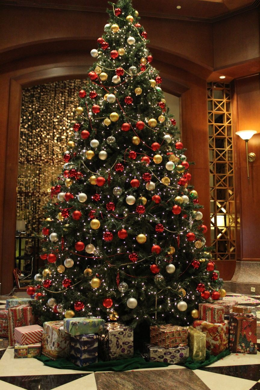 Christmas lights up at the sheraton imperial kuala lumpur Large decorated christmas trees