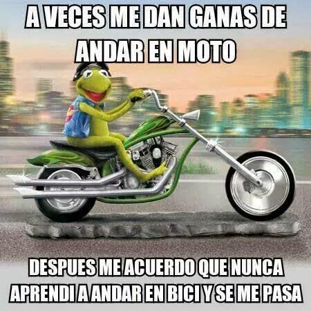 La Rana Rene en moto