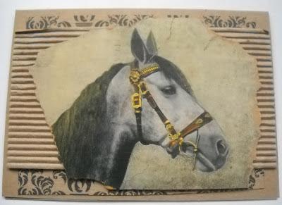 винтажная самодельная открытка с головой лошади