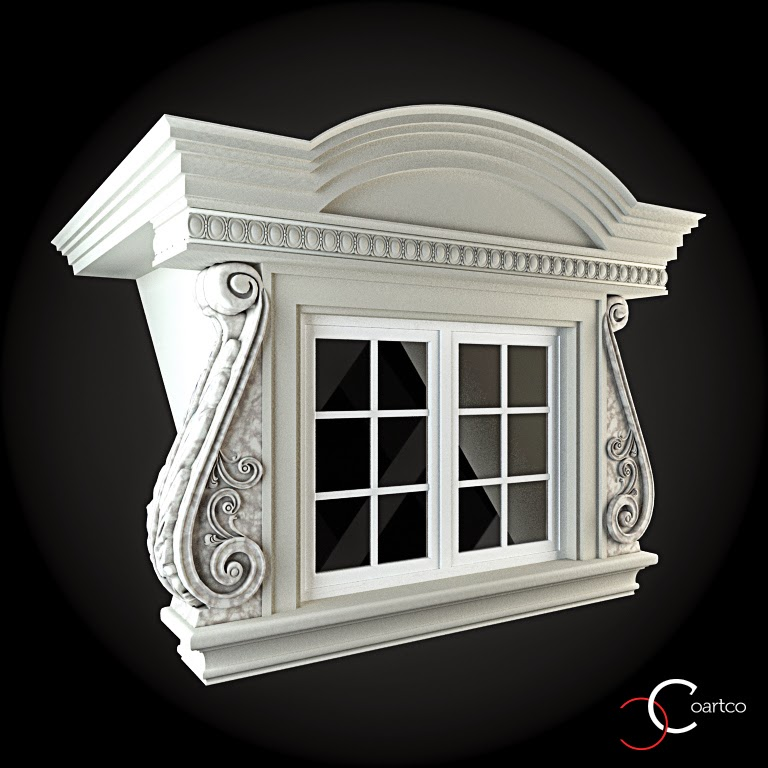 Ornamente Geamuri Exterior, fatade case cu profile decorative polistiren, profile fatada,  Model Cod: WIN-099