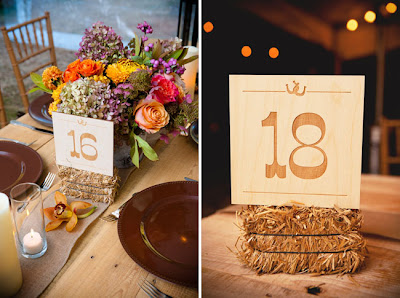 rustic outdoor wedding ideas, rustic table numbers