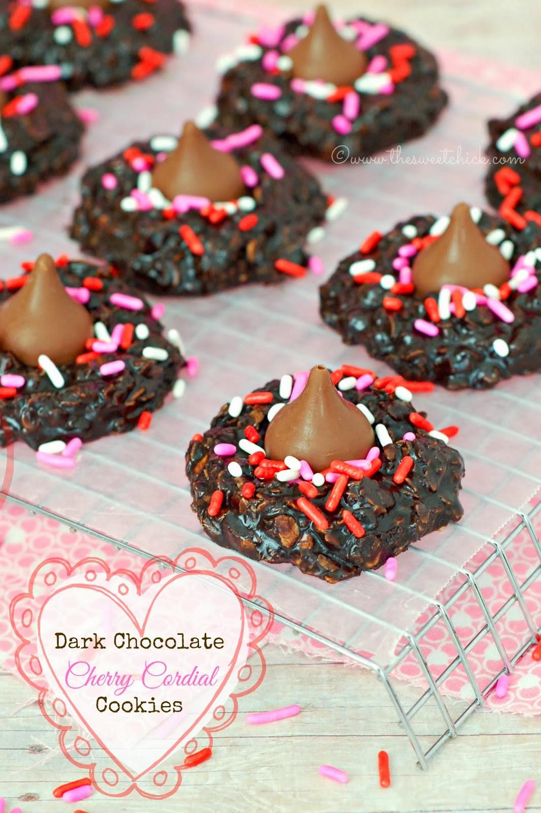 The Sweet Chick: Dark Chocolate Cherry Cordial Cookies (no bake)