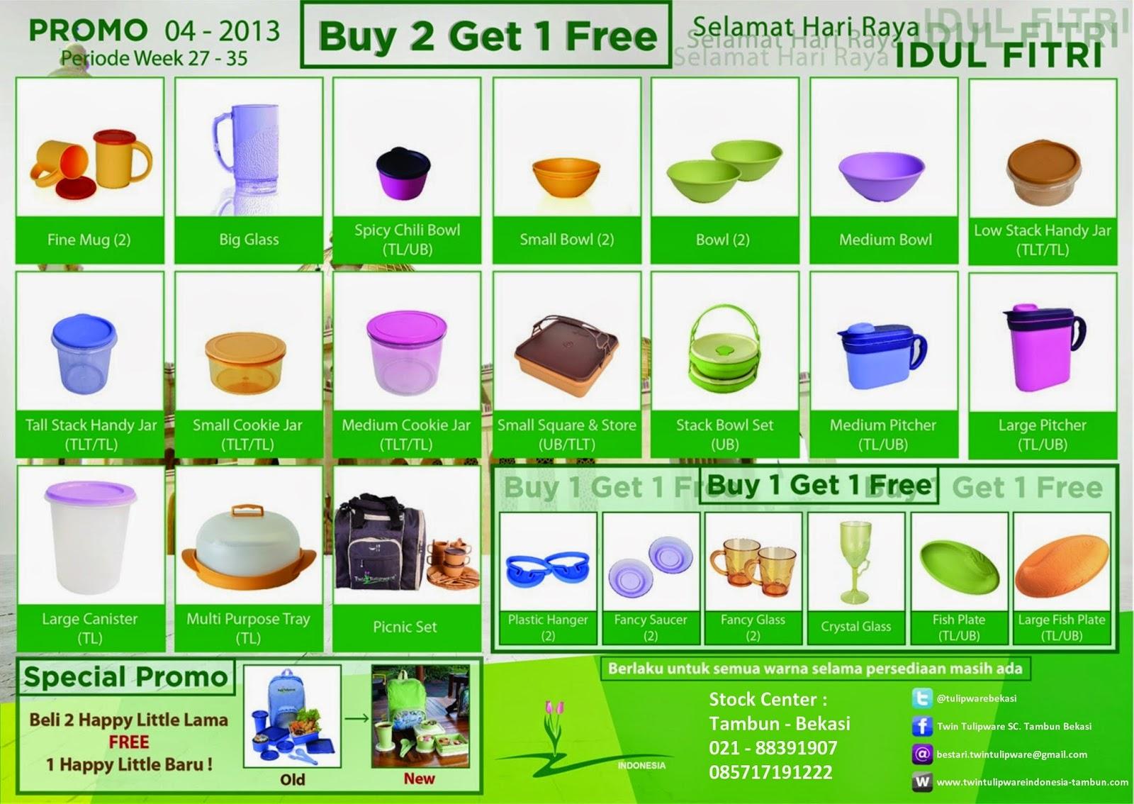 Promo Buy 2 Get 1 Free Twin Tulipware Juli - Agustus 2013