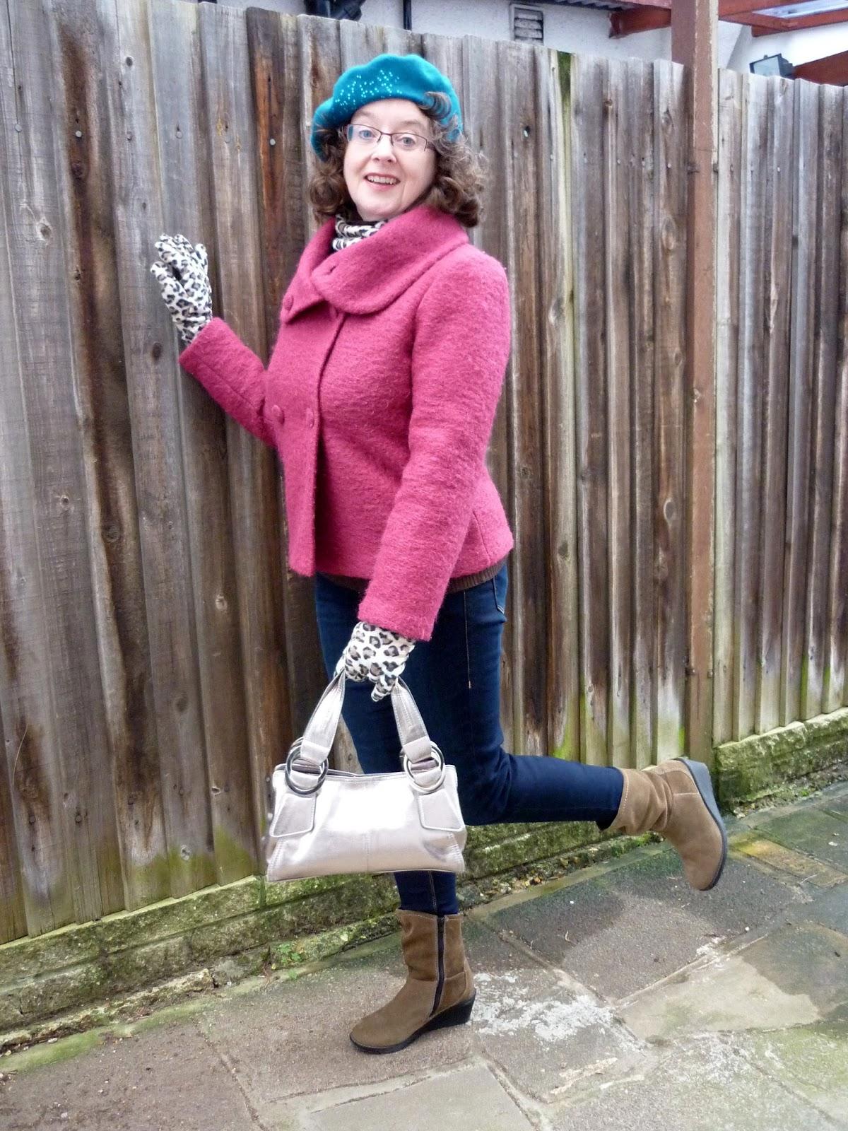 Minuet Raspberry Wool Jacket, Dorothy Perkins Petite Jeans, Leopard Print Scarf & Gloves | Petite Silver Vixen