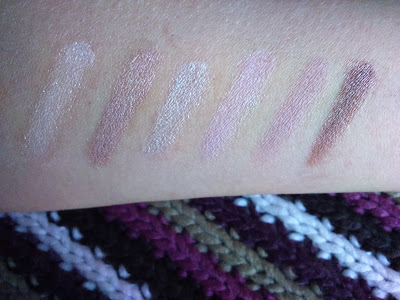 Swatches of upper row of Maybelline The Blushed Nudes, over UD primer