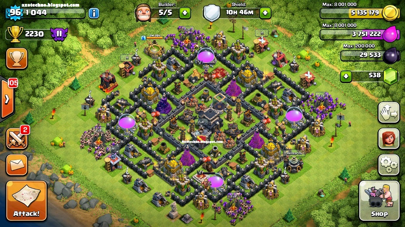 Cara Membuat Homebase Level 9 Anti Dragon dan Hog Rider