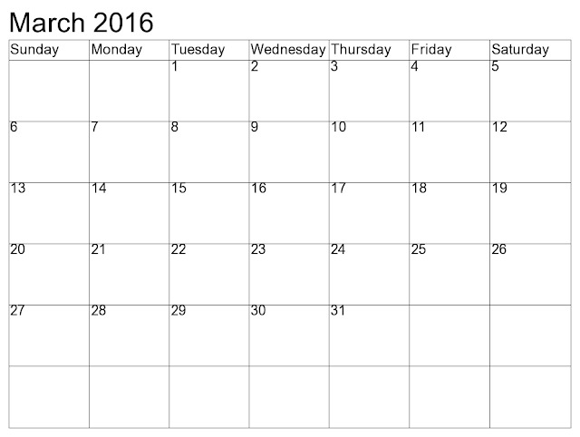 March 2016 Printable Calendar Templates, March 2016 Blank Calendar Download Free, March 2016 Cute Calendar Word Excel PDF, March 2016 Calendar with Holidays