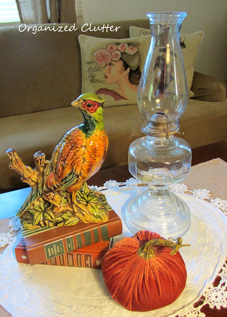 Vintage Enesco Pheasant Figurine, Velvet Pumpkin, Vintage Oil Lamp