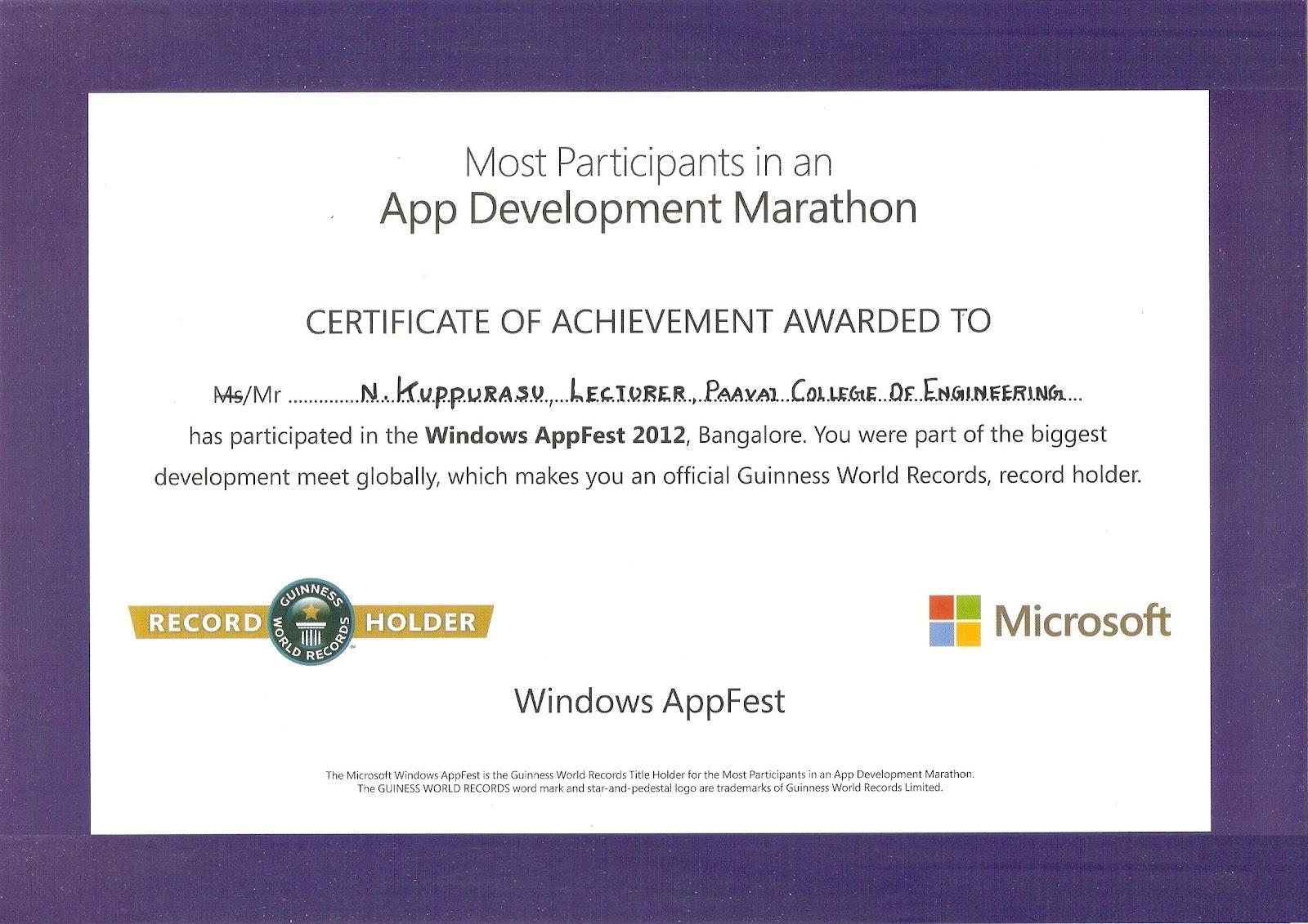 Kuppurasu window apps fest guinness world record certificate window apps fest guinness world record certificate 1betcityfo Choice Image