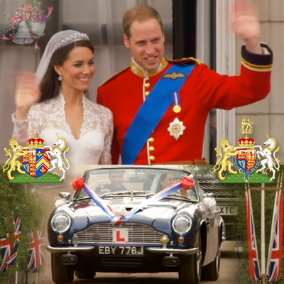 Catherine, Duchess of Cambridge and Prince William Duke of Cambridge, and their corresponding coat of arms. At the bottom the newlyweds leave Buckingham Palace in Prince Charle's Austin Martin with Prince William at the wheel. YouTube 2011