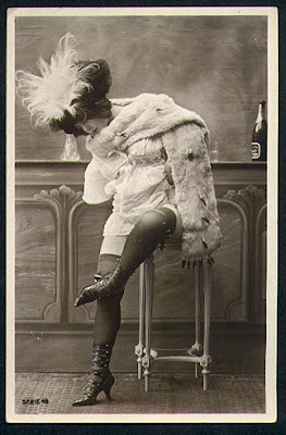 Silhouettes Parisiennes series featuring women wearing decorated stockings, ...
