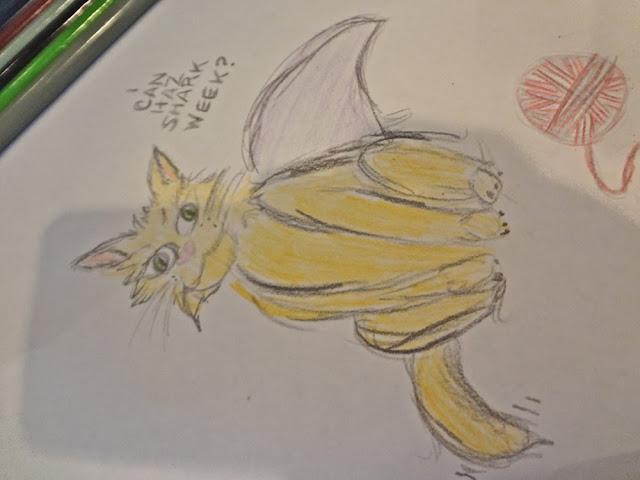 cat drawing, shark fin