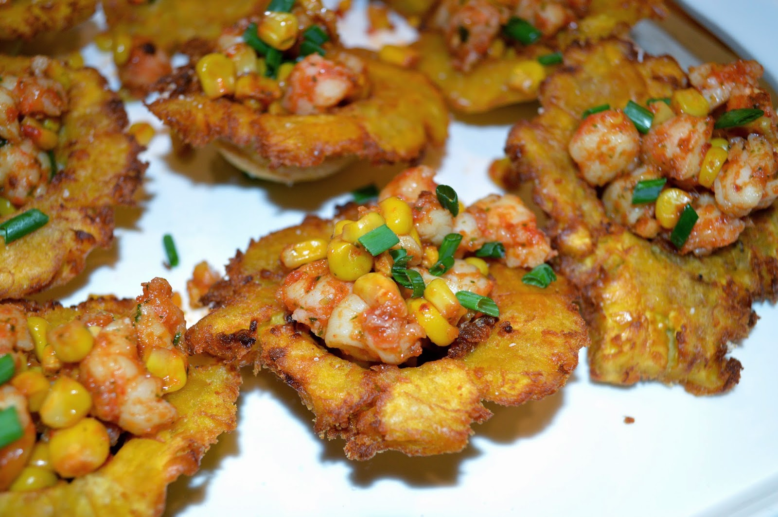 Kiss my apron shrimp and corn filled tostones