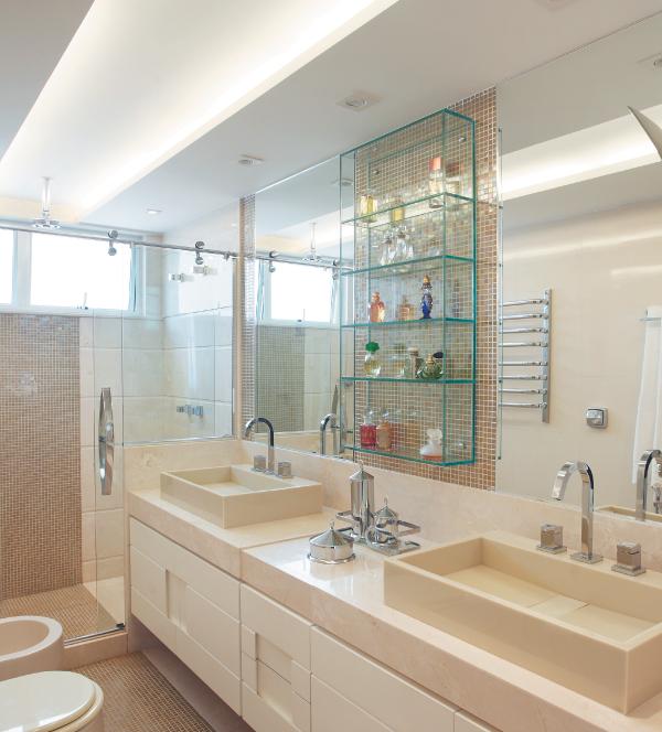 Construindo Minha Casa Clean 20 Banheiros com Bancadas Bege  Veja Dicas e I -> Bancada De Banheiro Com Pastilha De Vidro