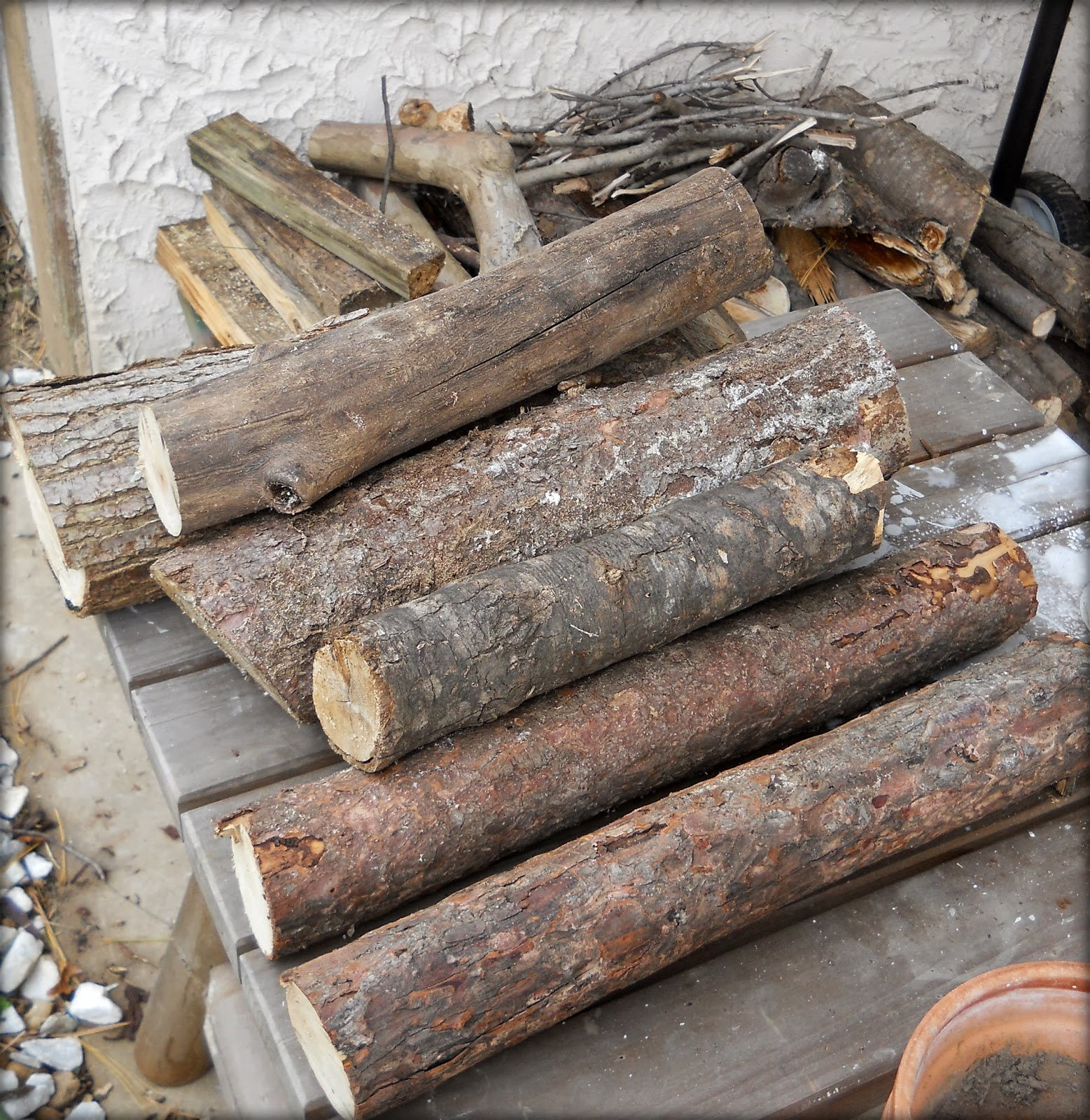 Paw prints and paintbrushes faux birch logs for mantle decor for Artificial logs for decoration