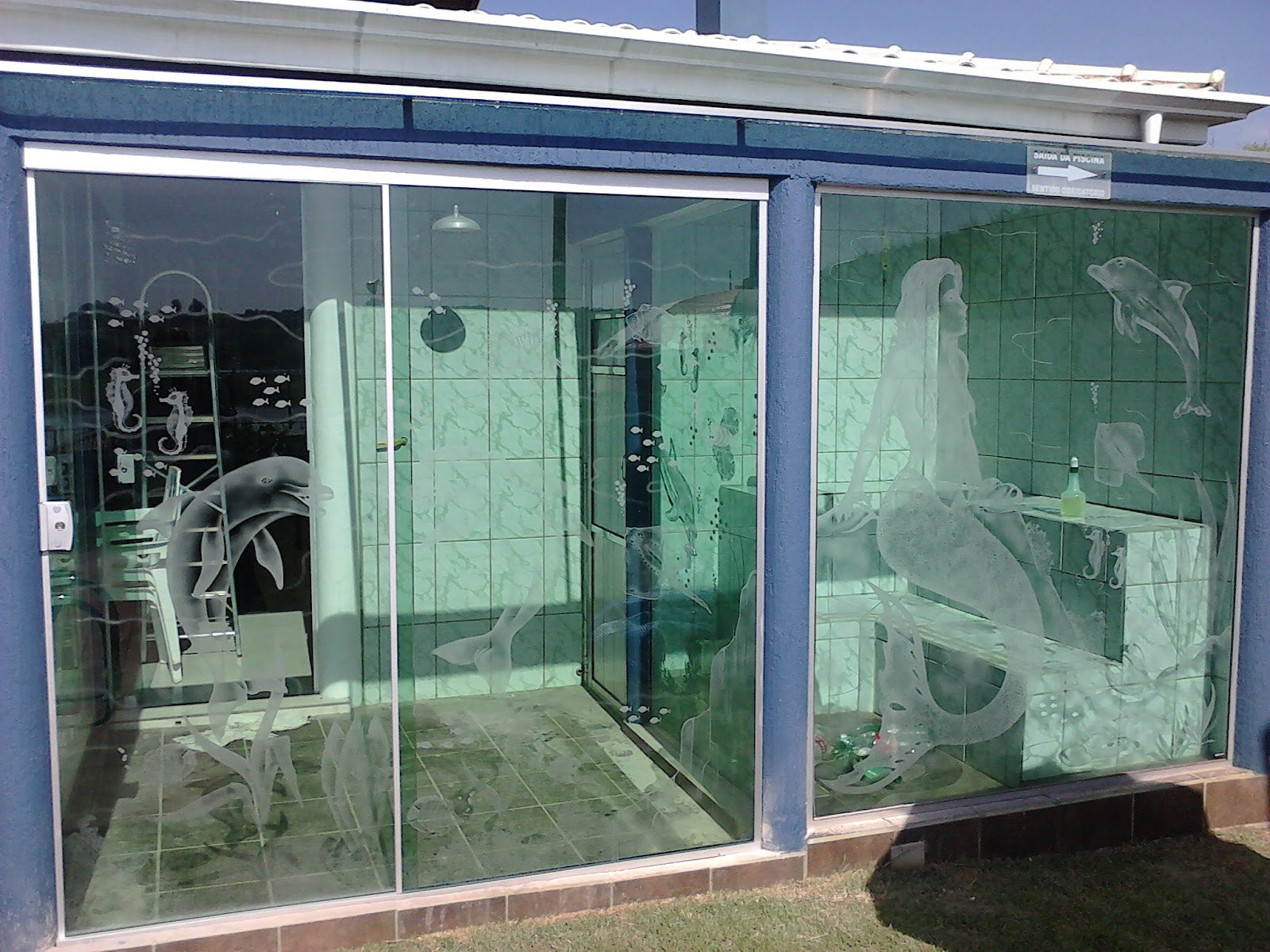 #394964 sauna fechada com vidros temperados e jateados 96 Janelas De Vidro Em Goiania