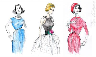 dessin mode rétro (imitation des images vintages des magazines de couture 1950)