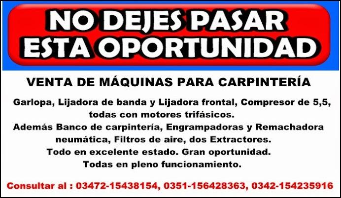 ESPACIO PUBLICITARIO: VENTA DE MÁQUINAS PARA CARPINTERÍA