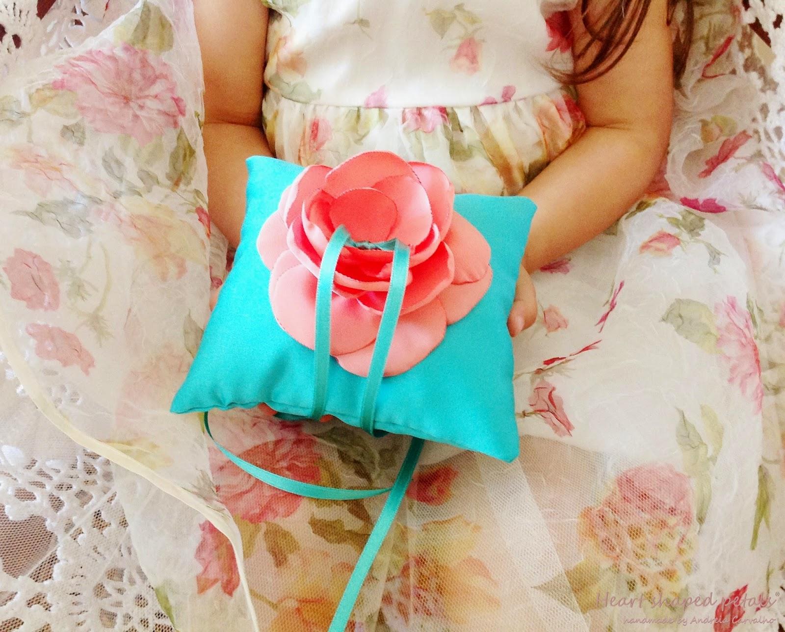 wedding ring bearer pillow with flower