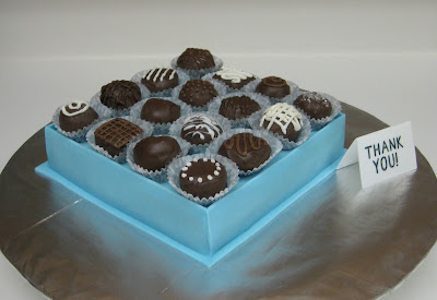 Box of Chocolates Cake with Cake Balls - Angled View 2