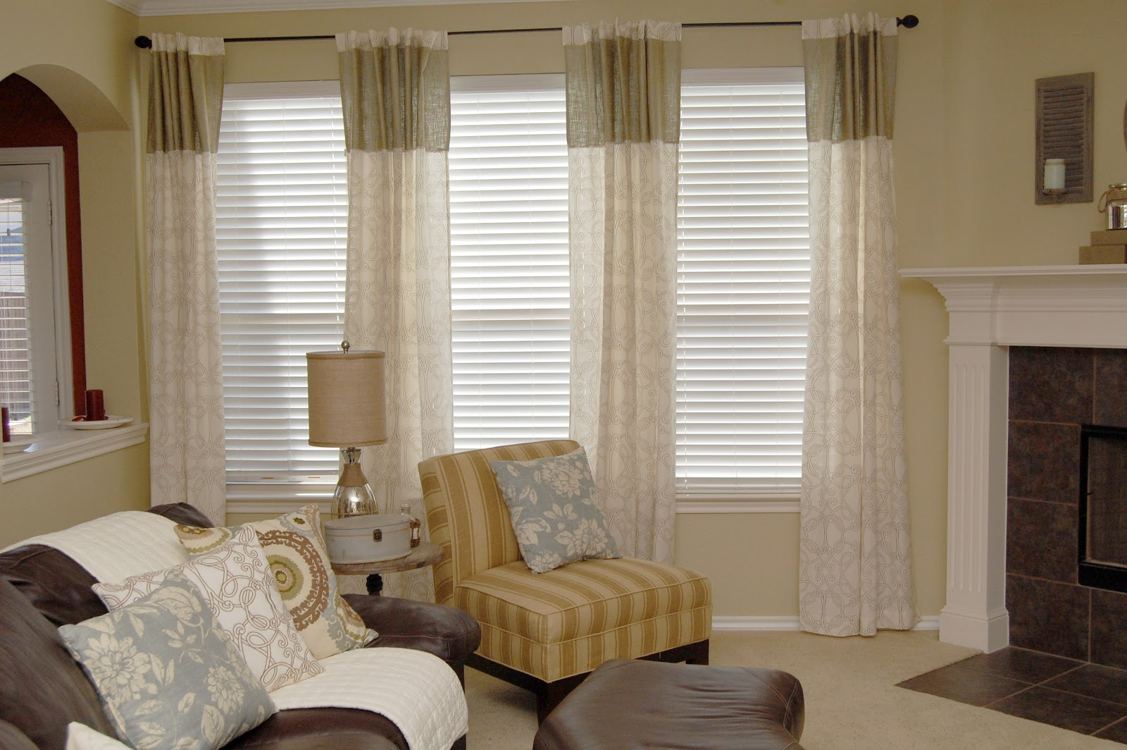 Shabby chic living room curtains - I Used Premade Patterned Curtains And Added The Burlap Panel For Length