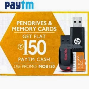 Pendrives and Memory Extra 60% Cashback – PayTm : buy to earn