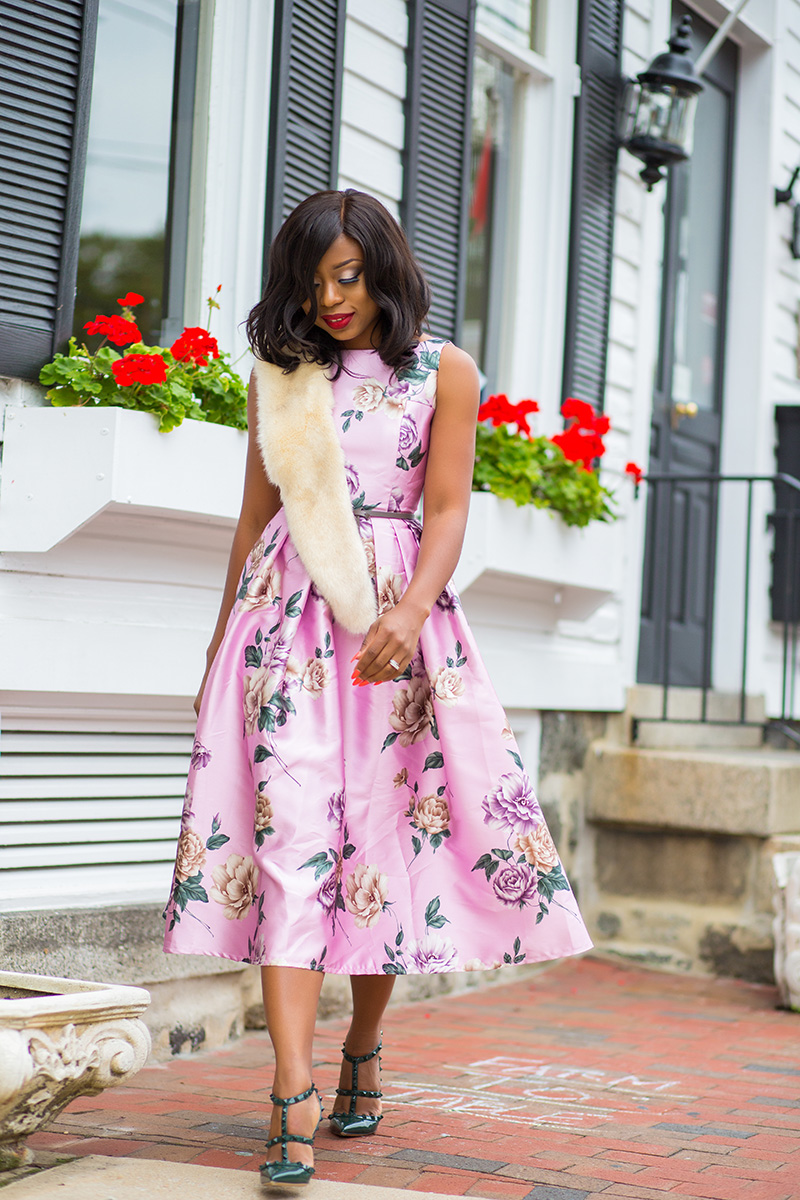 Floral dress and fur stole