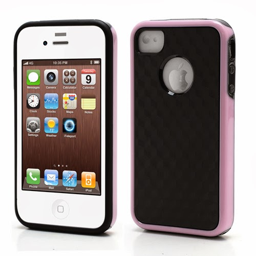 Cool 3D Cube Texture TPU Case for iPhone 4 4S - Pink