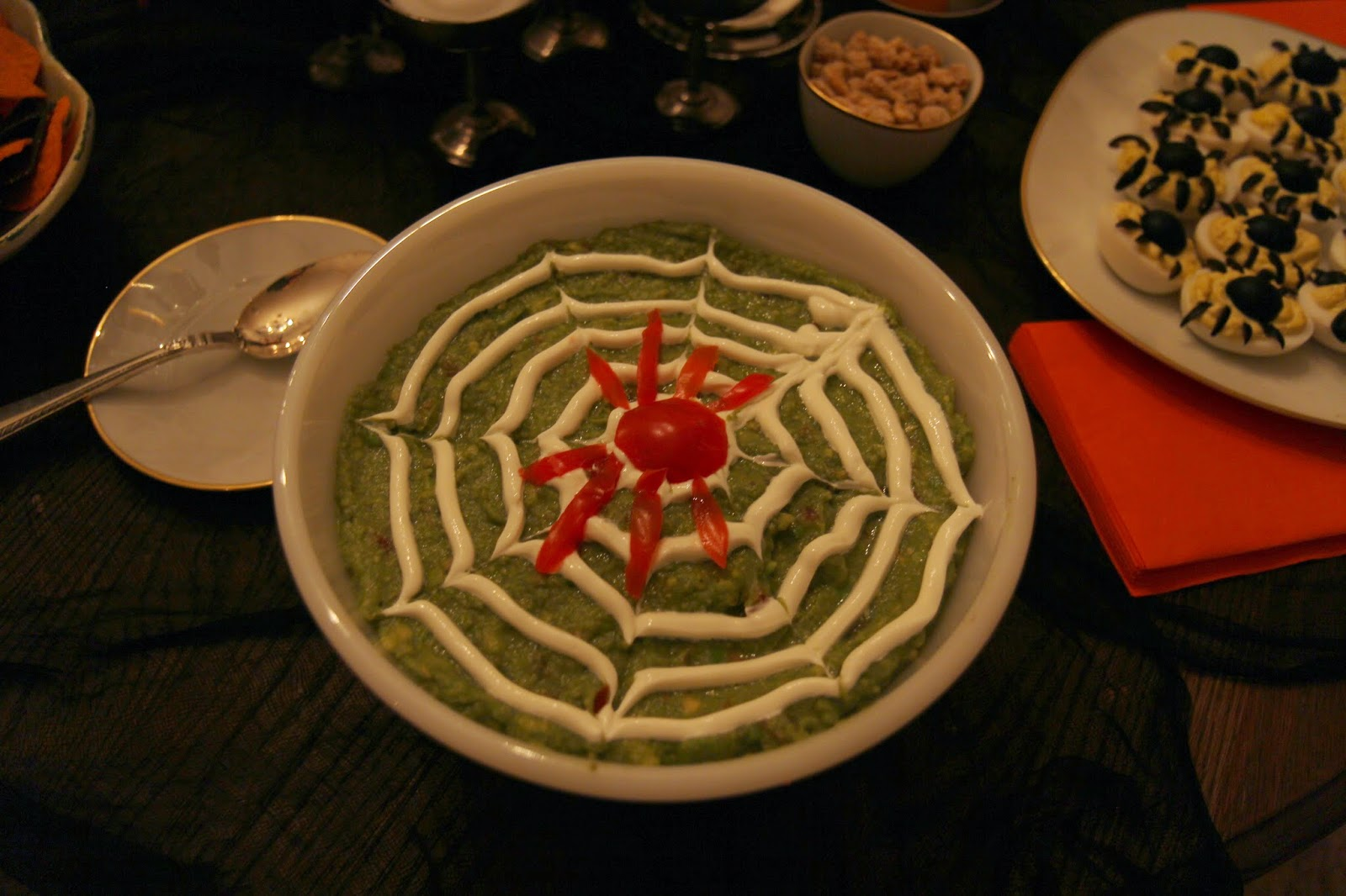 Guacamole with Sour Cream Spiderweb 2: Spooky Glam Halloween Party